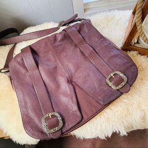 GIANNI BINI brown leather messenger bag! LIKE NEW!